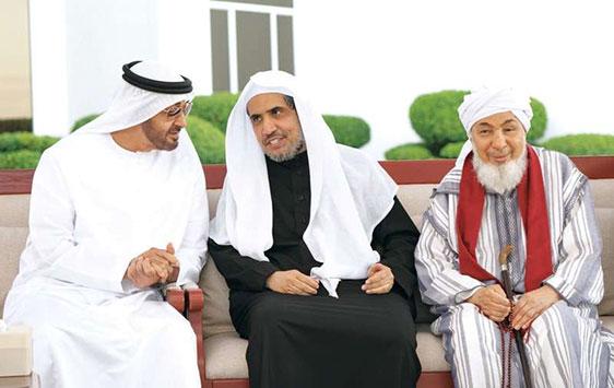 استقبل صاحب السمو الشيخ محمد بن زايد آل نهيان المشاركين في منتدى تعزيز السلم